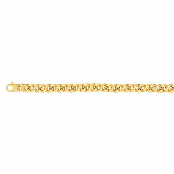 "14kt Gold 8.5"" Yellow Finish 8mm Shiny Oval Bracelet"