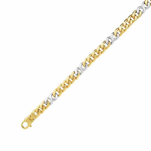 "14kt Gold 8.5"" Yellow/White Finish 7mm Shiny Oval Bracelet"
