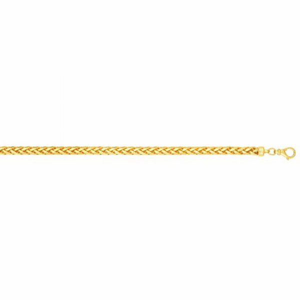 "14kt Gold 8.75"" Yellow 4mm Shiny Round Franco Bracelet w/Lobster Clasp"
