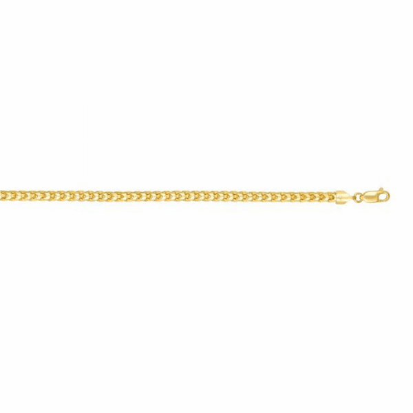 "14kt Gold 8.75"" Yellow 5mm Shiny Round Franco Bracelet w/Lobster Clasp"