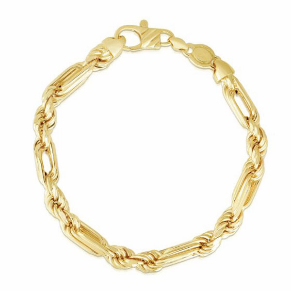 "14kt Gold 8.75"" Yellow Finish 6.5mm Diamond Cut Figarope Bracelet"