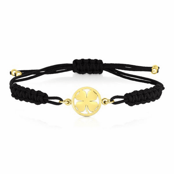 "14kt Gold 8"" Yellow 10.7mm Clover Bracelet with Draw String Clasp"
