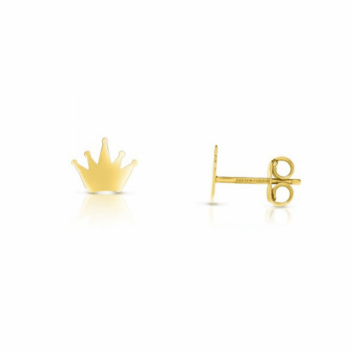 14kt Gold Finish Shiny Fancy Post Crown Earring with Push Back Clasp