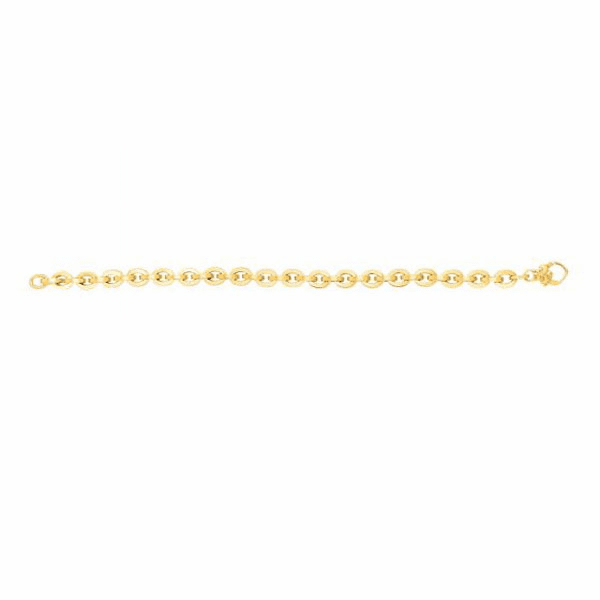 "14kt Gold Heritage 7.5"" Yellow Finish 6.5mm Oval Link Fancy Bracelet"