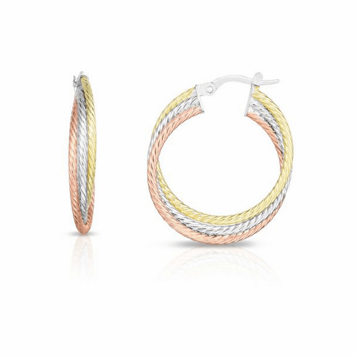 14kt Gold Pink / Yellow / White Finish 4.5x26mm Hoop Earring