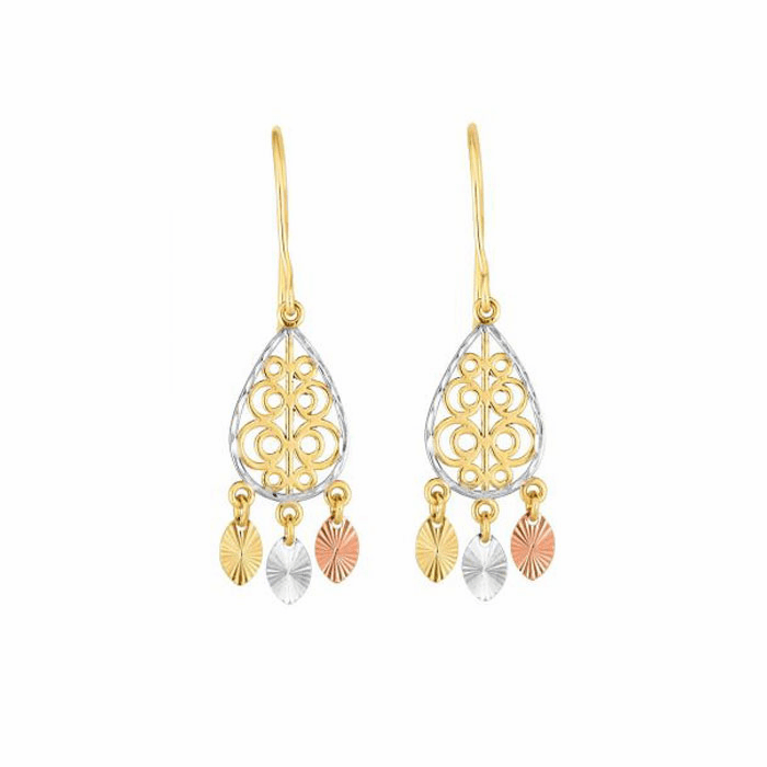 14kt Gold Rose/Yellow/White 10x40mm Diamond Cut Drop Fancy Earring