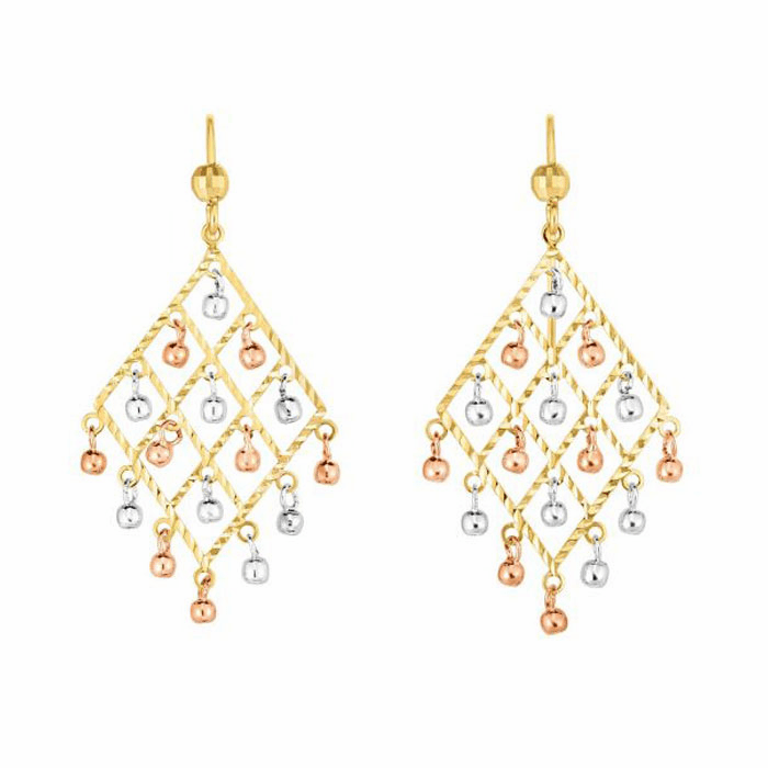 14kt Gold Rose / Yellow / White Chandelier Drop Earring