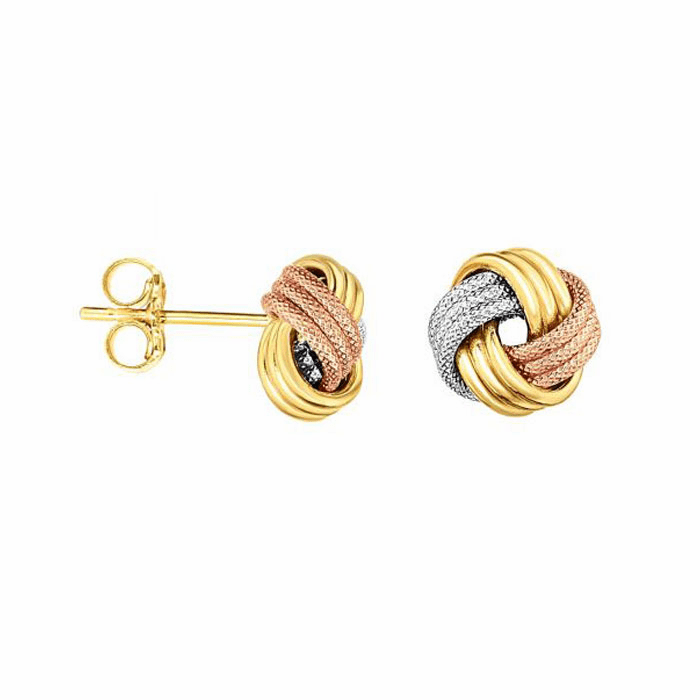 14kt Gold Rose/Yellow/White ImageBased-TBR/Post Love knot Earring