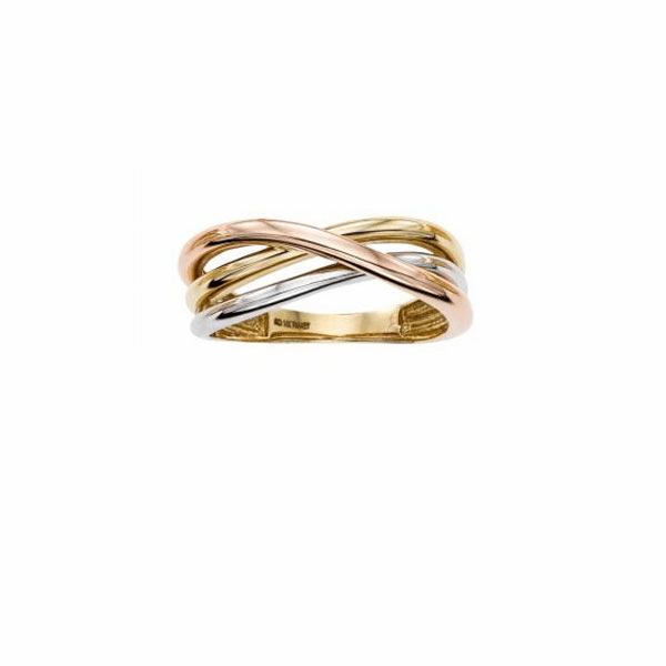 14kt Gold Size-7 Finish 2.5-8mm Shiny Cross Over Ring