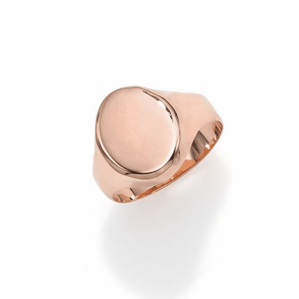 14kt Gold Size-7 Rose Finish 13.4x11x0.5mm Polished Oval Ring
