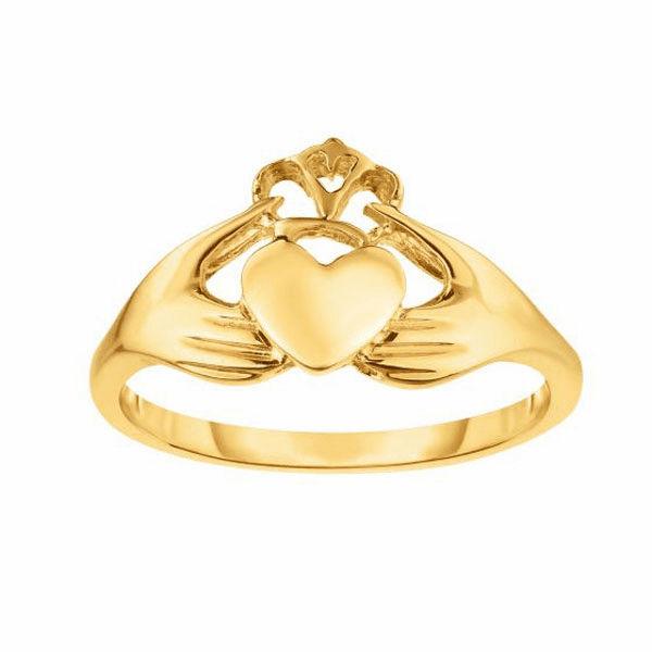 14kt Gold Size-7 Yellow Finish 1.6-10mm Shiny Claddagh Ring