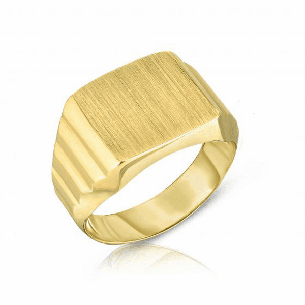 14kt Gold Size-7 Yellow Finish 11x12x0.5mm Matte Square Ring
