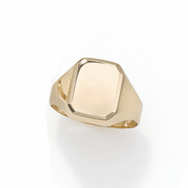 14kt Gold Size-7 Yellow Finish 12x10x0.4mm Polished Rectangle Ring