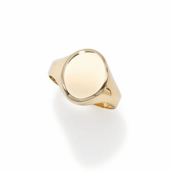 14kt Gold Size-7 Yellow Finish 13.4x11x0.5mm Polished Oval Ring