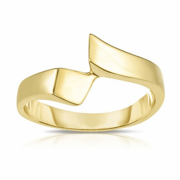 14kt Gold Size-7 Yellow Finish 2-7mm Shiny Graduated Free Form Ring