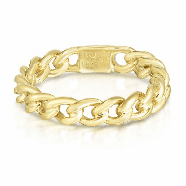 14kt Gold Size-7 Yellow Finish Polished Ring