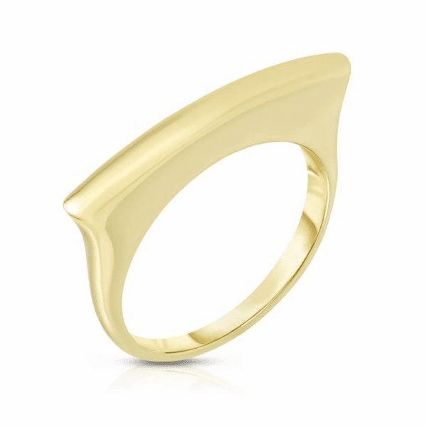 14kt Gold Size-7 Yellow Finish Shiny Bar Ring