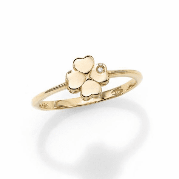 14kt Gold Size-7 Yellow Polished 4 Leaf Clover 1mm White Diamond Ring