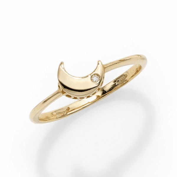 14kt Gold Size-7 Yellow Polished Sideways Moon 1mm White Diamond Ring