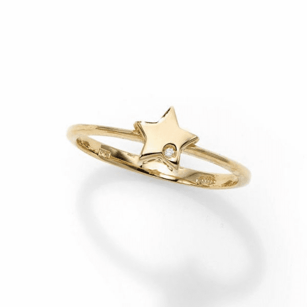 14kt Gold Size-7 Yellow Polished Star 0.0050ct 1mm White Diamond Ring