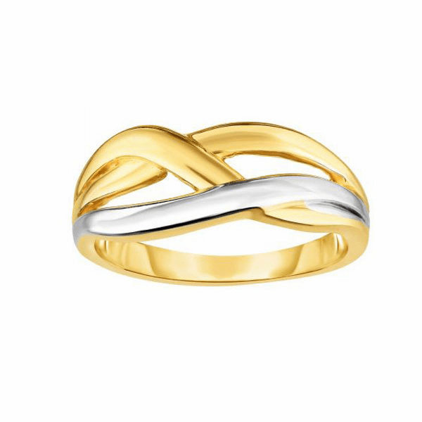 14kt Gold Size-7 Yellow/Rhodium 2.2-8mm Shiny Graduated Fancy Ring