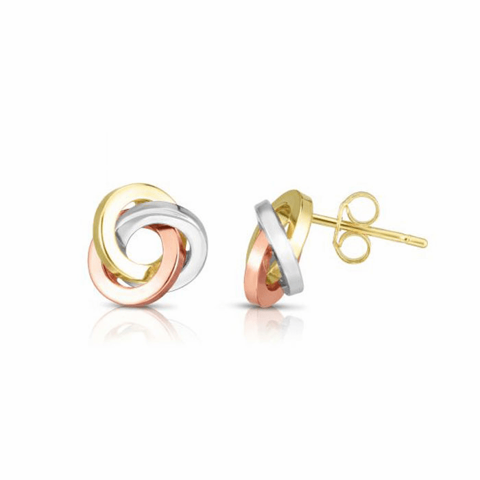 14kt Gold Tricolor 10x10mm Polished Love knot Earring