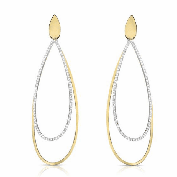 14kt Gold Two Tone Finish Tear Drop Earring with Push Back Clasp
