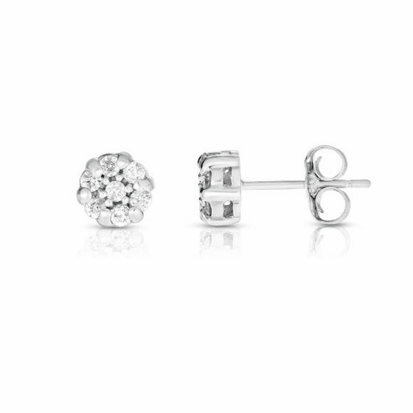 14kt Gold White Finish Earring with 0.2500ct White Diamond