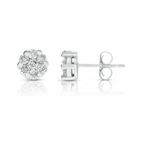 14kt Gold White Finish Earring with 0.5000ct White Diamond