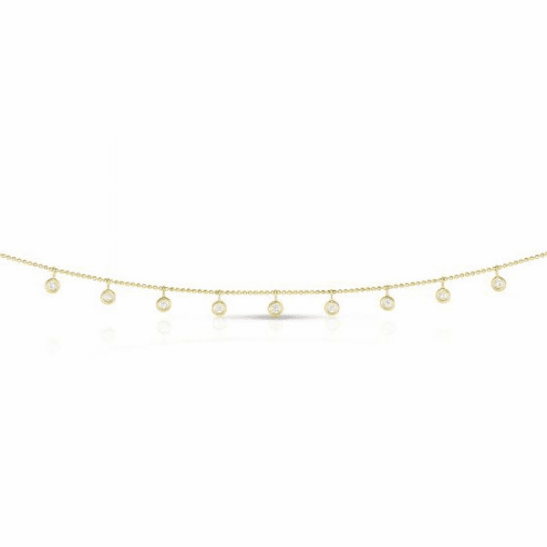14kt Gold Yellow Diamond Cut Necklace with 0.5000ct White Diamond