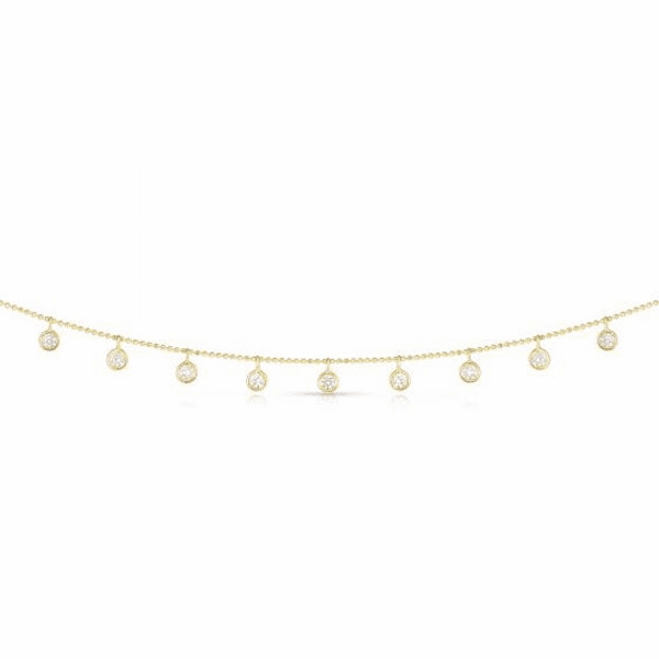 14kt Gold Yellow Diamond Cut Necklace with 0.7500ct White Diamond