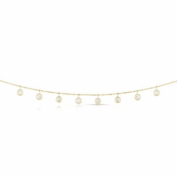 14kt Gold Yellow Diamond Cut Necklace with 1.0000ct White Diamond