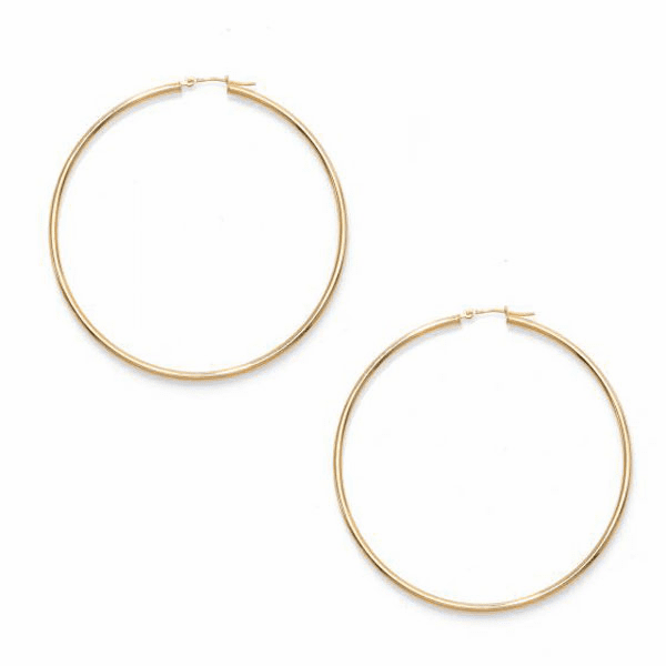14kt Gold Yellow Finish 2x60mm Hoop Earring with Hinged Clasp
