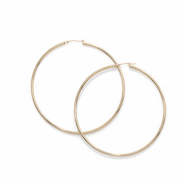 14kt Gold Yellow Finish 2x70mm Hoop Earring with Hinged Clasp