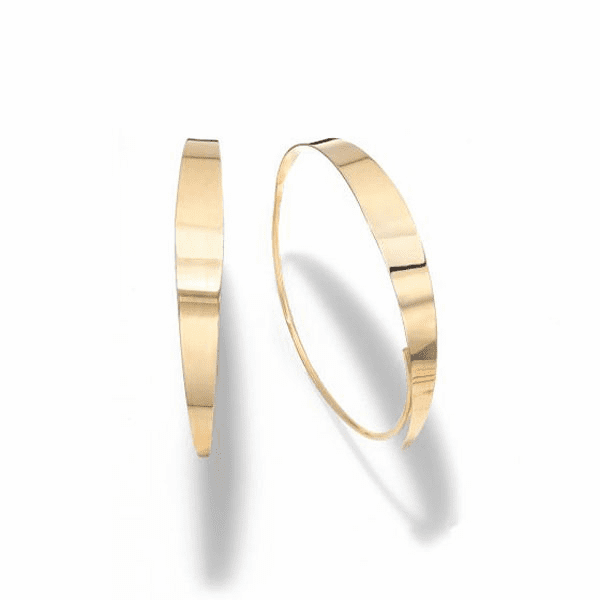 14kt Gold Yellow Finish 39x38mm Polished Hoop Earring with Slide Clasp