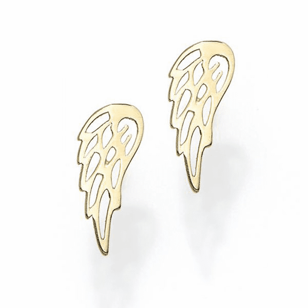 14kt Gold Yellow Finish 4.4x10.5mm Polished Wing Post Earring