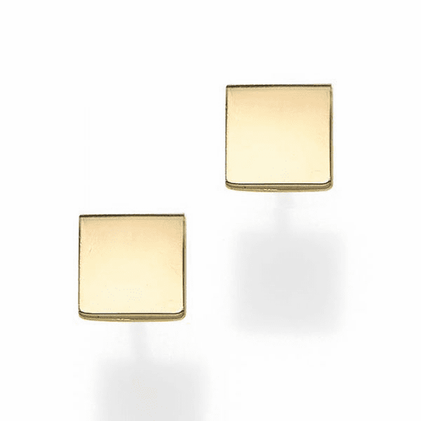 14kt Gold Yellow Finish 4.9mm Polished Square Post Earring