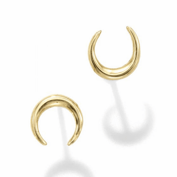 14kt Gold Yellow Finish 6.5x6.8mm Polished Moon Post Earring