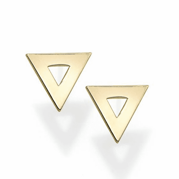 14kt Gold Yellow Finish 8.3X9.2mm Polished Triangle Post Earring