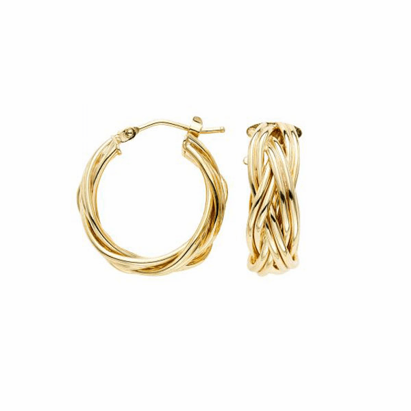 14kt Gold Yellow Finish Earring with Hinged Clasp - ER7715