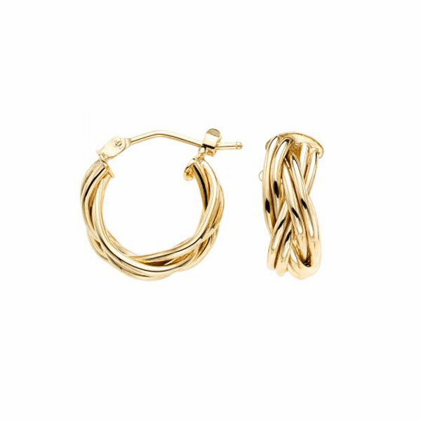14kt Gold Yellow Finish Earring with Hinged Clasp - ER7748