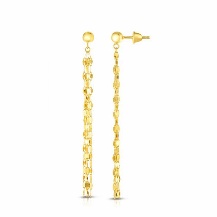 14kt Gold Yellow Finish Earring with Push Back Clasp - ER7885