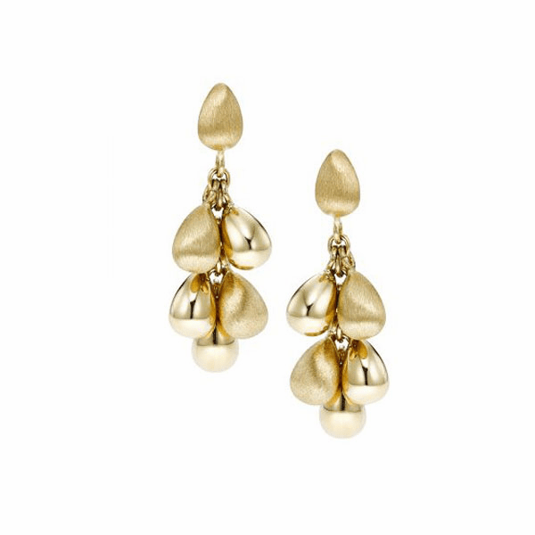 14kt Gold Yellow Finish Satin Earring with Push Back Clasp