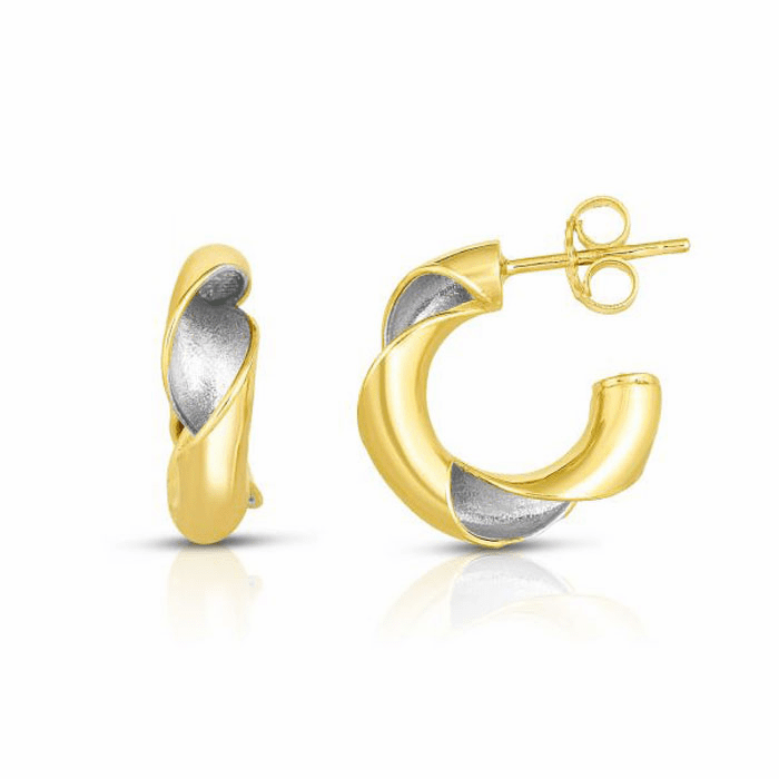 14kt Gold Yellow / Rhodium Finish Shiny Earring with Push Back Clasp