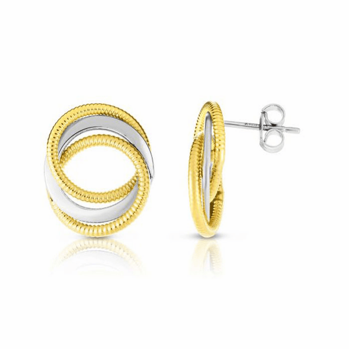 14kt Gold Yellow / White 14x17mm Post Earring