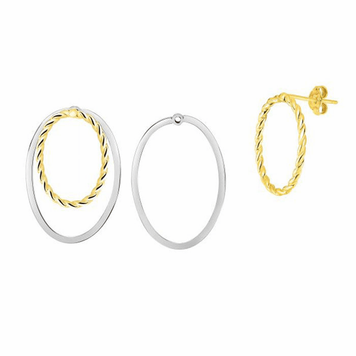 14kt Gold Yellow / White 20x29mm / Textured Tube Post Oval Earring