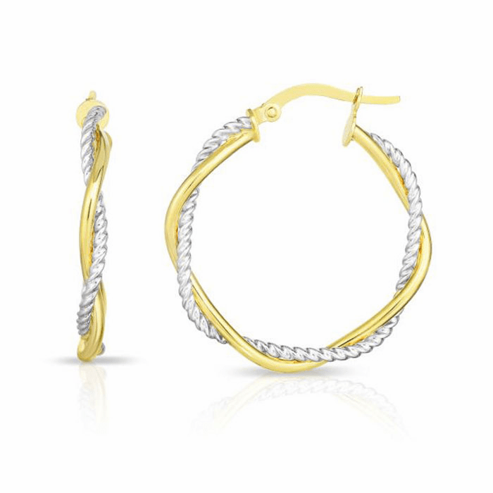 14kt Gold Yellow / White 3x23mm Shiny Round Hoop Fancy Earring