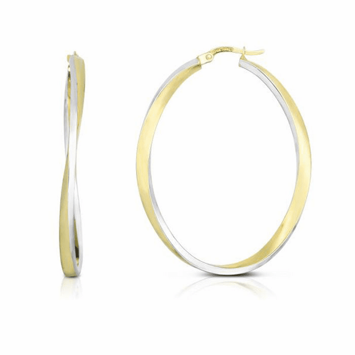 14kt Gold Yellow / White 3x30mm Shiny Oval Hoop Earring