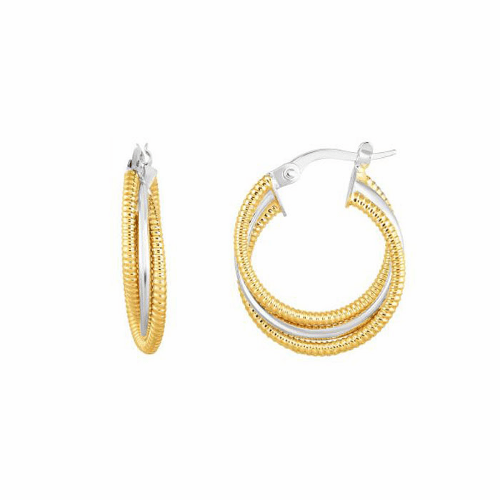 14kt Gold Yellow / White 4x15mm / Textured Round Hoop Fancy Earring