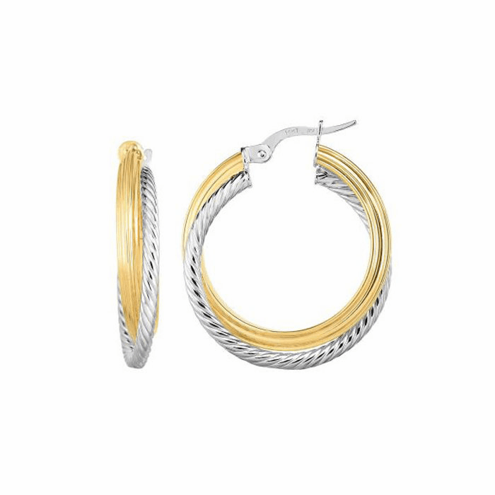 14kt Gold Yellow / White 4x20mm / Textured Round Hoop Fancy Earring